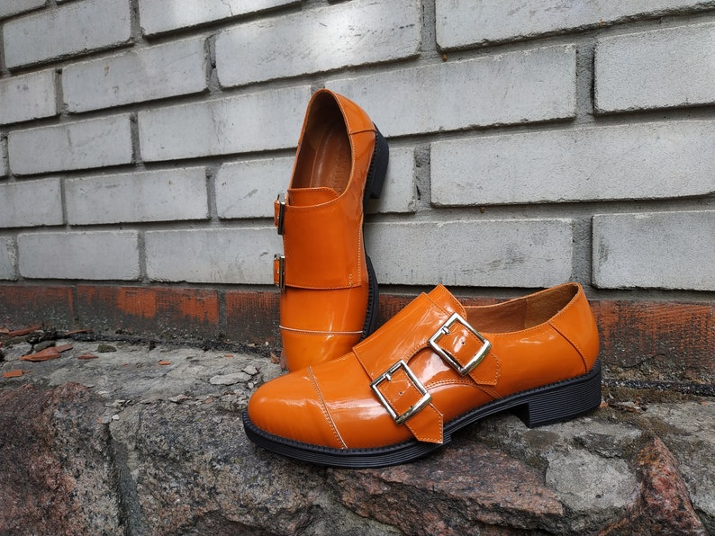 70s Clothes | Hippie Clothes & Outfits Monk Shoes Vintage Style For Woman Double Monk Strap Flats Orange Patent Leather Buckle Monk Shoes Retro Handmade Leather Shoes For Woman $130.00 AT vintagedancer.com