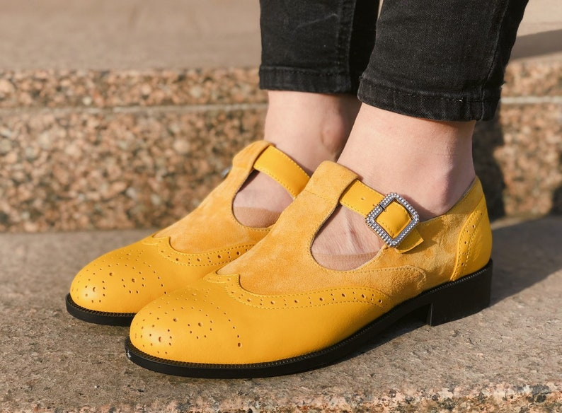 70s Shoes, Platforms, Boots, Heels | 1970s Shoes Mary Jane shoes Mustard Leather Woman Mary Jane Pumps Yellow Leather Low Heels Ankle Strap Mary Jane With Buckle Custom Leather Shoes $130.50 AT vintagedancer.com