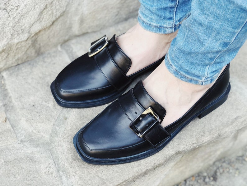 70s Clothes | Hippie Clothes & Outfits Woman Penny Buckle Loafer Shoes Black Leather Square Toe Loafer Shoes Low Heels Handmade Loafers Casual Everyday Wear Style Custom Shoes $140.00 AT vintagedancer.com