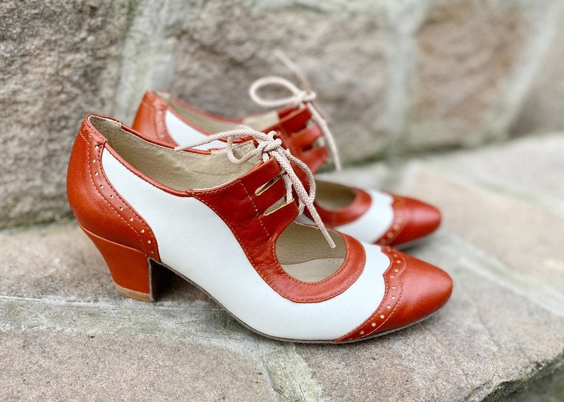 1930s Shoes – Art Deco Shoes, Heels, Boots, Sandals Mary Jane Pumps For Woman Chunky Heels Brown Mary Jane Block Leather Heels White Pointed Toe Pumps Retro Style Custom Leather Woman Shoes $130.50 AT vintagedancer.com