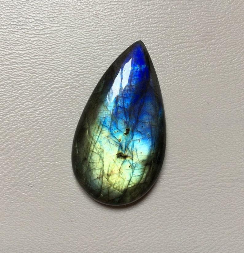 Beautiful Multi Fire Labradorite Multi Fire Labradorite Cabochon Loose Gemstone 42.40 Carat Pear Shape Best For Silver,Wire wrap Jewelry