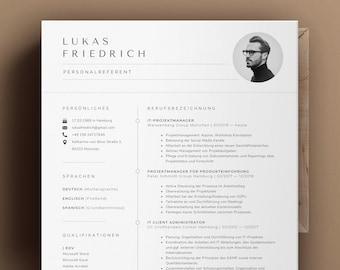 Bewerbungsvorlage Deutsch, Lebenslauf Vorlage für Word und Pages, Deckblatt, Anschreiben Anlagen Professionelle Bewerbung, Lebenslauf Modern