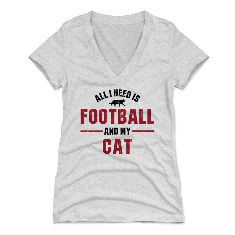 Cats Animals All I Need Is Football And My Cat Funny Cat Women/'s V-Neck T-Shirt
