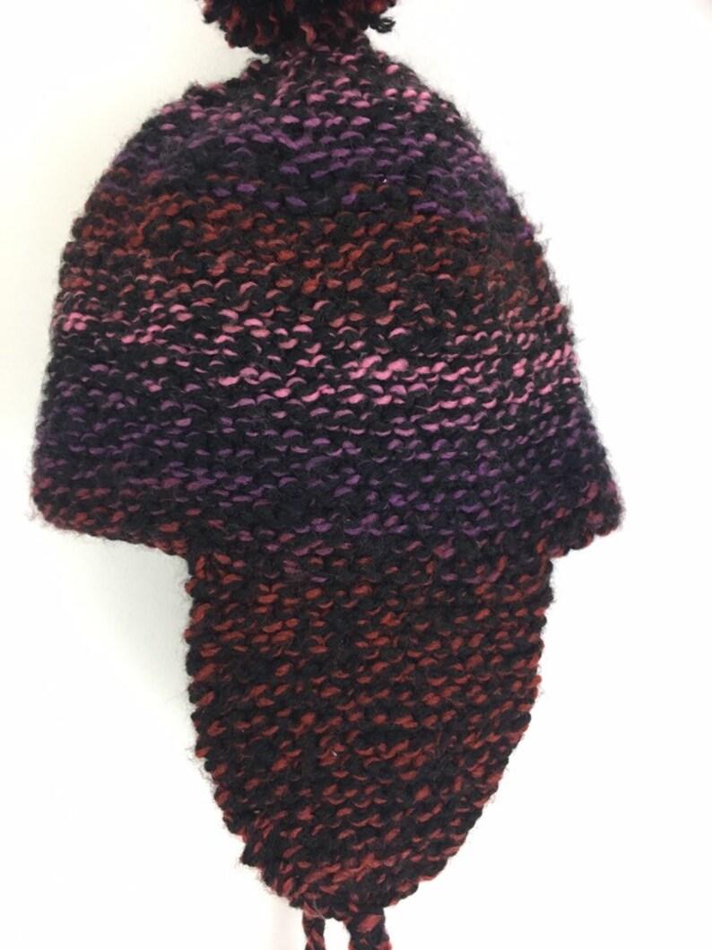 Wool Hand Knit Bobble Hat Beanie Ear Flaps Braided Ties ...