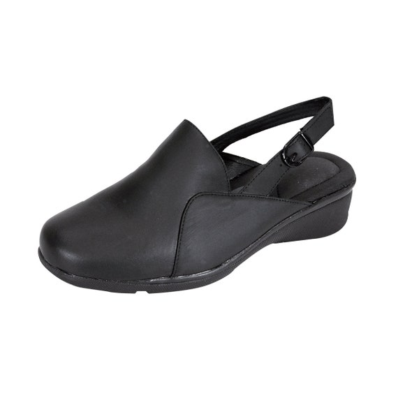 24 HOUR COMFORT Tania Women Wide Width Elegant Durable Cushioned Leather Slingback Mule Shoes