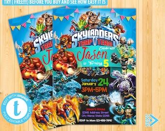 Skylander Invitation Birthday Invitations Party Kids Boy Invite Skymall01