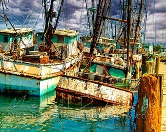 Fine Art Photography, Archival, Photography, Photo, Print, Gulf Coast, Boats, Shrimp Boats, Port Isabel, South Padre Island