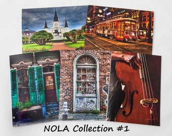 Fine Art, Greeting Card, New Orleans, NOLA, Street Car, Jackson Square, St Louis Cathedral, Door, Jazz, Bass, Colorful, FREE SHIPPING