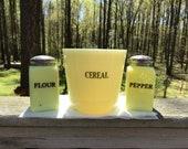 VINTAGE 1930 MCKEE Seville Custard Cereal Canister Matching Flour, Pepper Shaker.