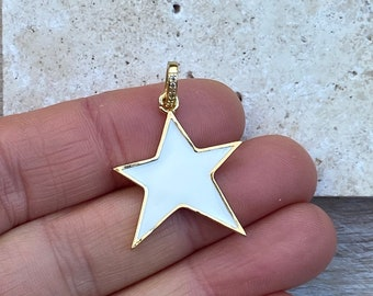 2pc 18k Gold Filled Star Cubic Zirconia Coin Pendant Pave CZ North Star Pendant Jewelry Making 15mm 2 pcs per order