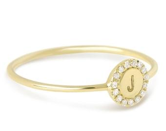a55f9d36954 Pave Diamond Disc Initial Ring / 14k Diamond Disc Letter Ring / Diamond  Stacking Ring / Initial Ring / Graduation Gift / Birthday Gift