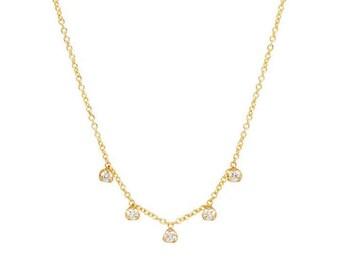 14k Yellow Gold Finish 0.85 Ctw Round Moissanite CZ Unique Solitaire Pendant Necklace /& Chain
