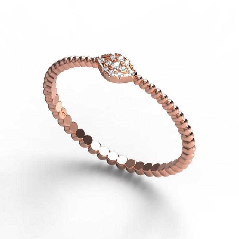 Diamond Evil Eye Stacking Ring  14k Gold Diamond Evil Eye Ring w Beaded Band Design  Protection Ring  Birthday Gift  Evil Eye Gift Idea