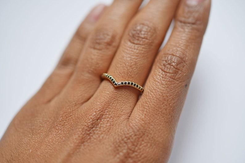 Curved Black Diamond Stacking Ring  14k Gold Diamond Wedding Band  Diamond Wedding Ring  Chevron Stacking Ring  Diamond Gift Ideas