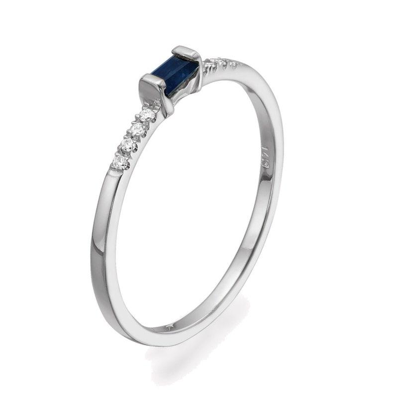 14k Gold Diamond Sapphire Baguette Ring  Stacking Ring  Wedding Ring  Bridal Ring  Anniversary Gift  Birthday Gift