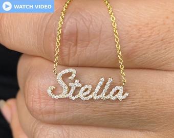 Diamond Name Necklace / 14k Personalized Diamond Name Necklace / Dainty Name Necklace / Birthday Gift / Diamond Gift Ideas