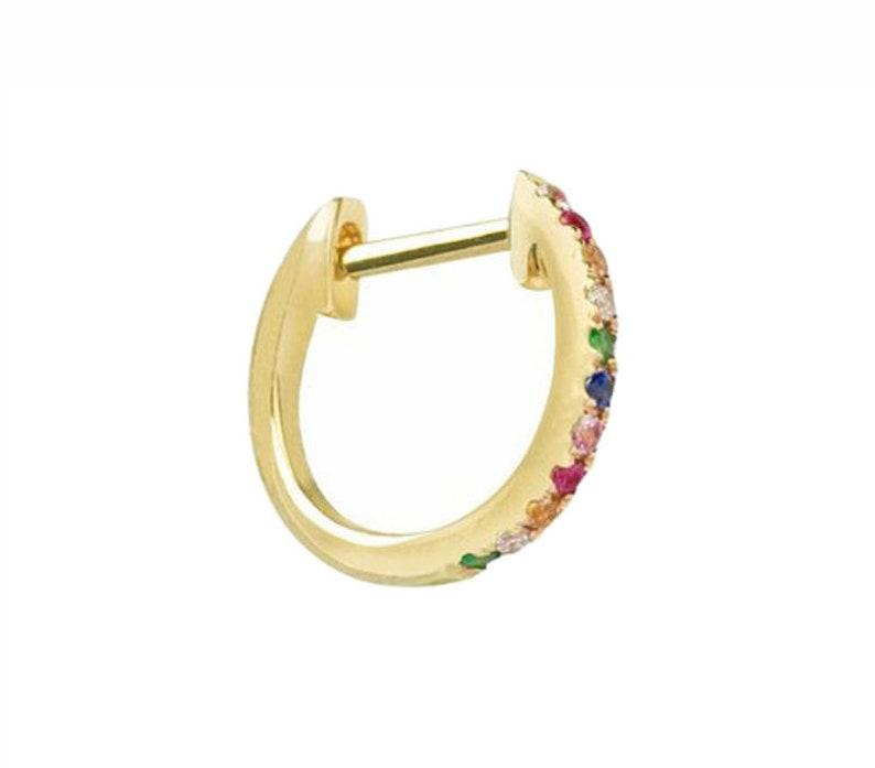 Rainbow Hoop Earrings  14k Gold Multi Color Hoop Earrings  Anniversary Gift  Birthday Gift  Graduation Gift  Bridal Gift  Wedding Gift