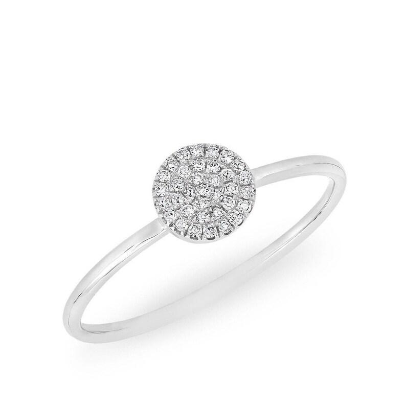 Diamond Round Disc Ring  14k Diamond Round Disc Band  Stacking Ring  Round Diamond Ring Graduation Gift  Birthday Gift  Bridal Gift