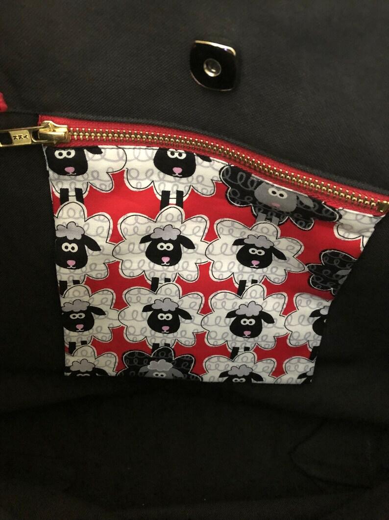 Knitting Project Bag Zippered Pocket Large Project Bag Outside Pockets