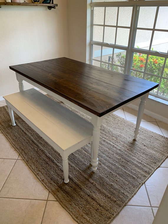 Rustic Farmhouse Dining Table w/ bench