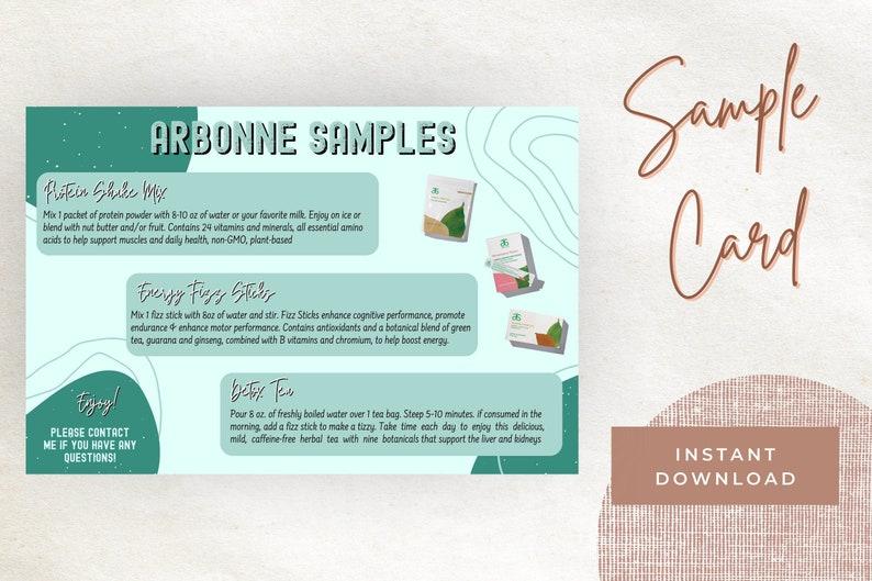 Sample Card Download Protein, Fizz Sticks, Detox Tea Digital Download ONLY Print Arbonne