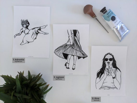 Goddess art postcards - Set of three linocut prints