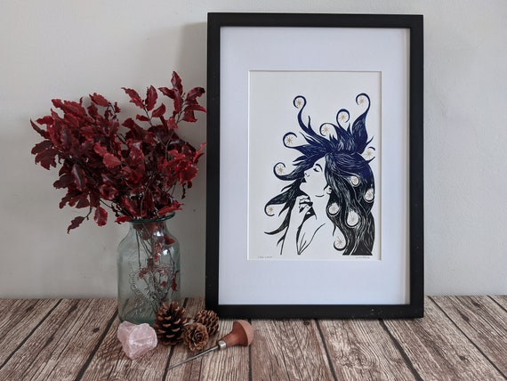 Linocut art print - Cassiopeia - Greek mythology & folklore linoprint