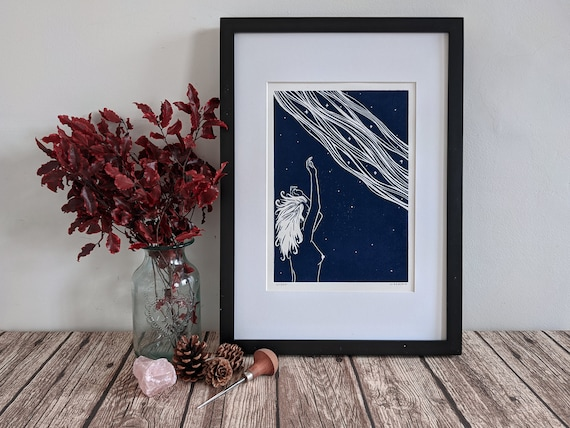 Linocut art print - Asteria, Greek goddess of stars - Mythology & folklore linoprint