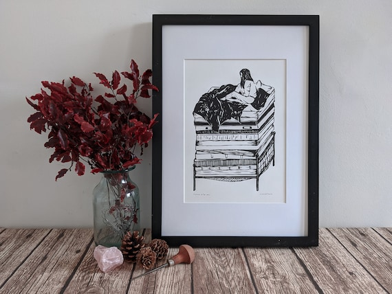 Linocut art print - The Princess & The Pea - Fairytale / folklore linoprint