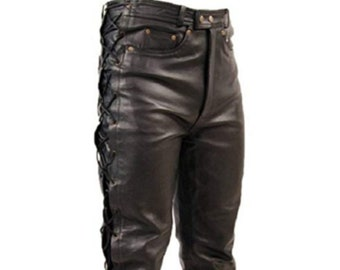 e045817c0dee Mens Genuine Leather Pant Black Side Laces Pant with Zipper Closure Real Leather  Laces Trouser