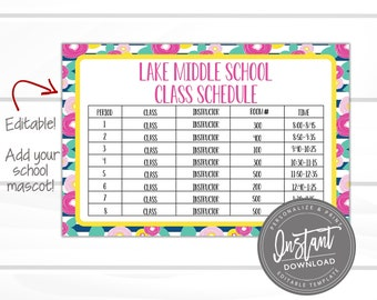 photo regarding Class Schedule Printable titled Cl timetable Etsy