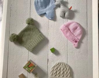 UKHKA 182 Baby DK Double Knitting Pattern Helmet Bonnet Pull On or T Bag Hats
