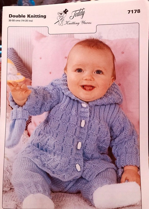 Teddy 7120 knitting pattern for cardigan and bonnet in dk yarn 3 sizes