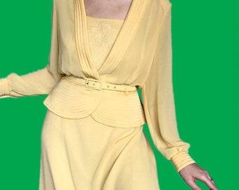 Beautiful vintage yellow 2 piece dressjacket suit UK 16