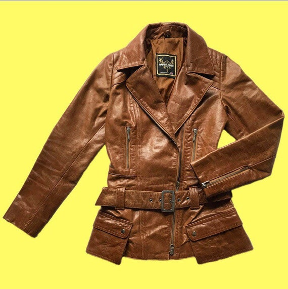 Women's 100% real brown leather jacket with belt U