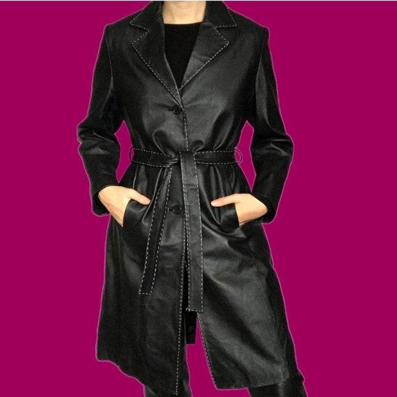 Super cool black 100% real leather belted jacket U