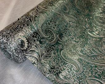"""Red //silver Paisley Flower Print Brocade Fabric 58"""" Wide Upholstery Dress Craft"""