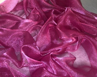 "1 MTR LILAC SPARKLING CRYSTAL ORGANZA VOILE,DECORATION,DRAPE FABRIC 45"" WIDE"