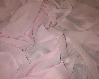 "1 MTR BABY PINK GEORGETTE BRIDAL DRESS CHIFFON FABRIC...58/"" WIDE"