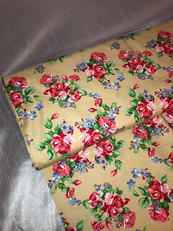 """3 mtr red multi coloured patchwork print 100/% cotton fabric..45""""wide"""
