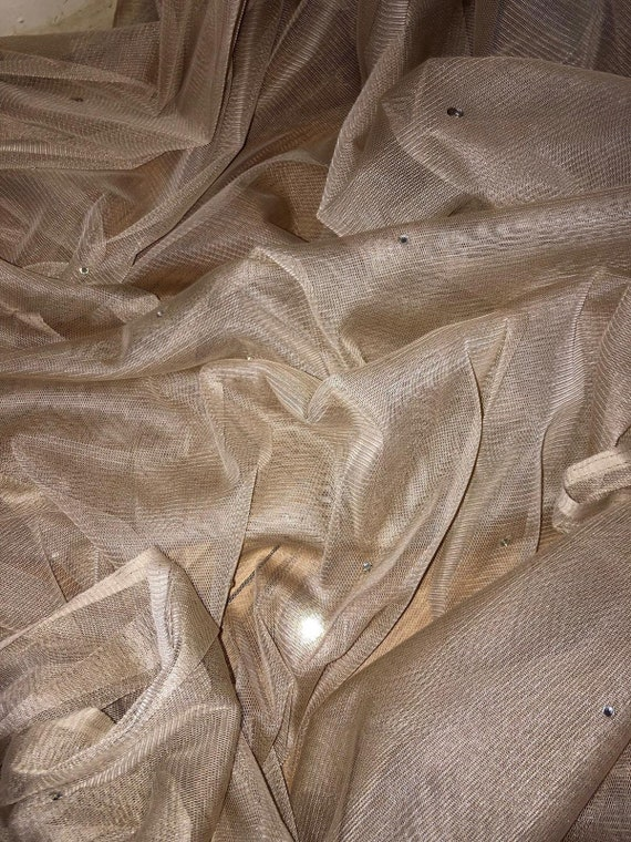 """5 MTR SOFT TURQOISE TULLE STUDDED BRIDAL//DECORATION NET FABRIC..45/"""" WIDE NEW"""