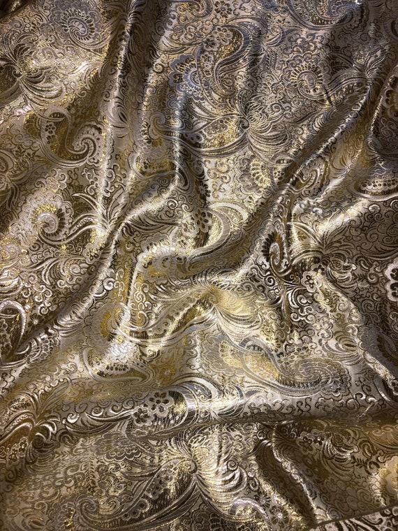 "1 METER BLACK//GOLD ELEGANT PAISLEY DESIGN METALLIC BROCADE FABRIC 58"" WIDE"