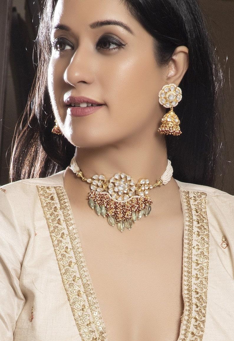 Kundan Jewelry Choker Necklace Bridal Jewelry Sets Sabyasachi Choker Statement Jewelry Bollywood Fashion Jewelry South Indian Brides 2019