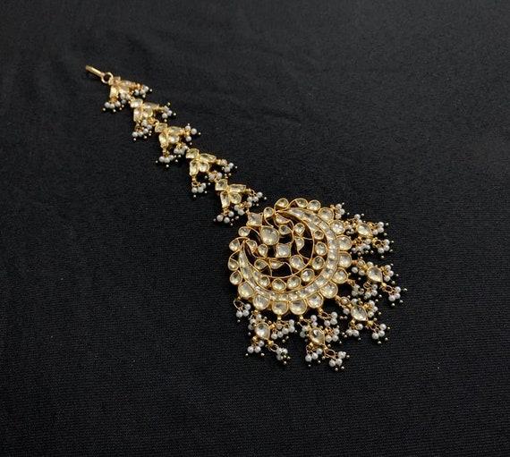Indian Bollywood Kundan White Maang Tikka Forhead Fashion Wedding Party Jewelry