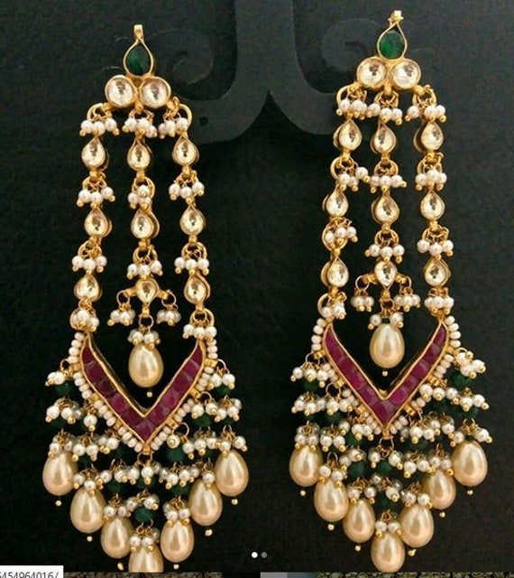 22K Gold Plated Indian 9/'/' Long Necklace Earrings Indian Nice with Pink Stone