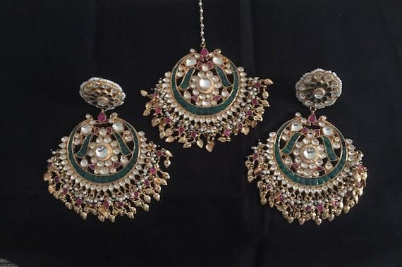 wedding Chandbali,Traditional Earrings Indian Earrings Bollywood Golden Earrings Handmade Earrings Anniversary Earrings