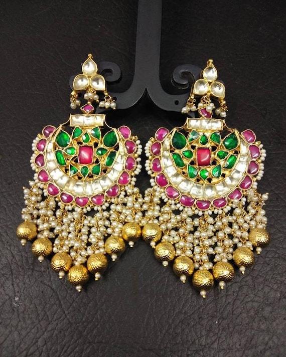 Ethnic Gold Plated Indian Fashion Jewellery Polki  Dangling Long Earring Women