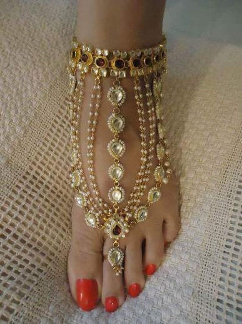 Kundan Anklets Bridal Anklet Wedding Anklets Bridal Jewelry image 0