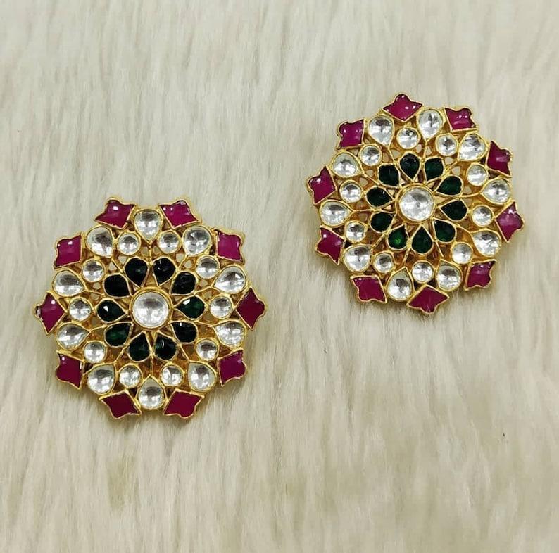 Round Shape Stud Indian Bridal Jewelry Kundan Earrings Stud Daily wear Evergreen White Kundan Fashion Earrings Kundan Wedding Jewelry