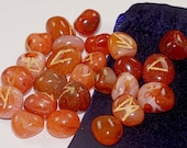 Carnelian Crystal Rune Stones with Purple Velvet Bag